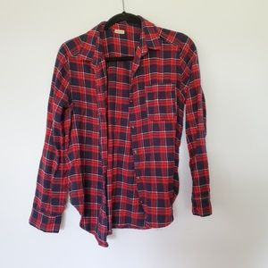 2/$30 Hollister red blue flannel button down